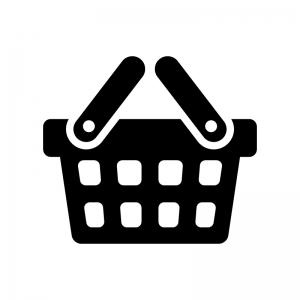買い物カゴの白黒シルエットイラスト04