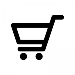 買い物カートの白黒シルエットイラスト02