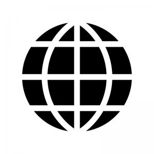 地球・グローバルの白黒シルエットイラスト