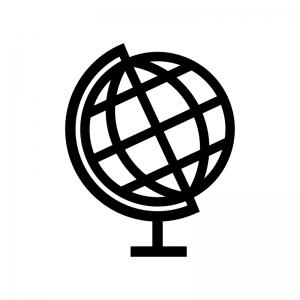 地球儀の白黒シルエットイラスト02