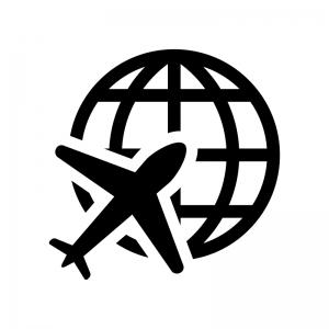 地球と飛行機の白黒シルエットイラスト