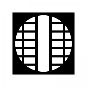 丸い障子の白黒シルエットイラスト
