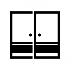 襖(ふすま)の白黒シルエットイラスト