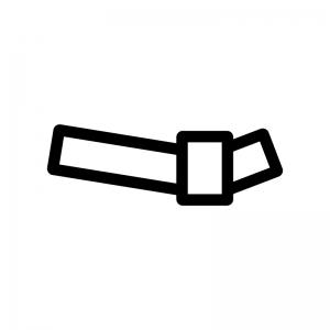 結んだおみくじの白黒シルエットイラスト