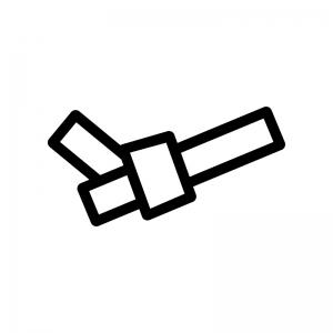 結んだおみくじの白黒シルエットイラスト02