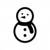雪だるまの白黒シルエットイラスト02