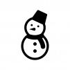 雪だるまの白黒シルエットイラスト03