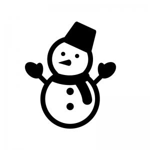 手が付いた雪だるまの白黒シルエットイラスト