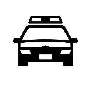 パトカーの白黒シルエットイラスト