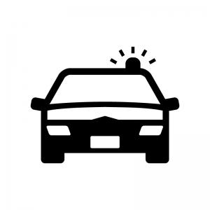 パトカーの白黒シルエットイラスト02