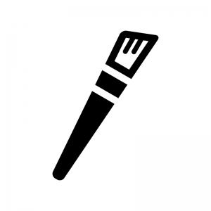 メイクブラシの白黒シルエットイラスト02