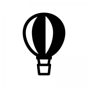 気球の白黒シルエットイラスト
