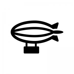 飛行船の白黒シルエットイラスト02