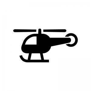 ヘリコプターの白黒シルエットイラスト