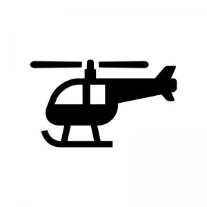 ヘリコプターの白黒シルエットイラスト02