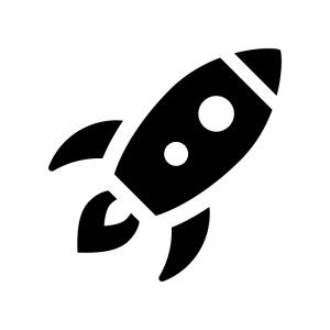 ロケットの白黒シルエットイラスト