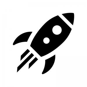 ロケットの白黒シルエットイラスト02