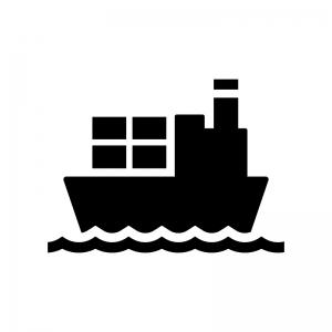 貨物船の白黒シルエットイラスト