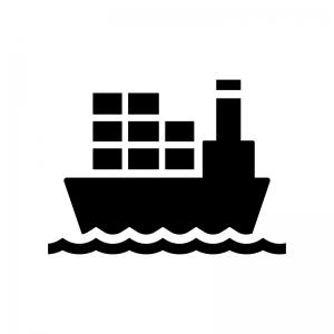 貨物船の白黒シルエットイラスト02