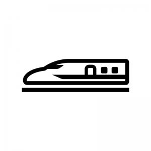 新幹線の白黒シルエットイラスト02