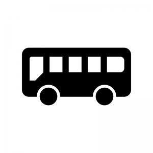 バスの白黒シルエットイラスト