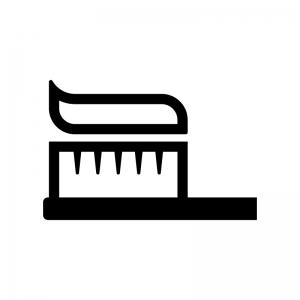 歯磨き粉が乗った歯ブラシの白黒シルエットイラスト02