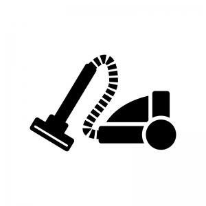 掃除機の白黒シルエットイラスト