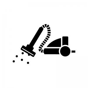 掃除機で掃除する白黒シルエットイラスト
