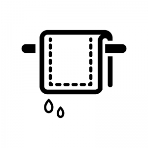洗濯した雑巾の白黒シルエットイラスト02