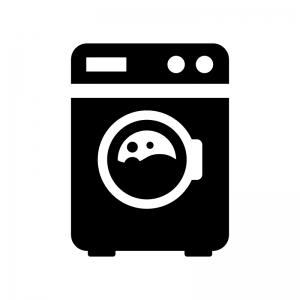 ドラム式洗濯機の白黒シルエットイラスト02