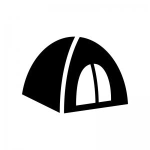 キャンプ・テントの白黒シルエットイラスト