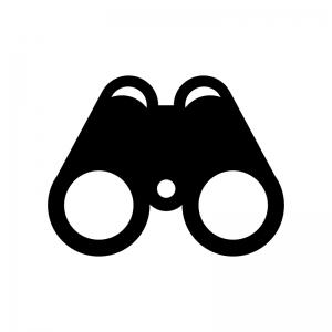 双眼鏡の白黒シルエットイラスト03