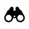 双眼鏡の白黒シルエットイラスト04