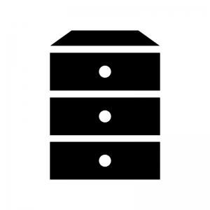 三段タンスの白黒シルエットイラスト