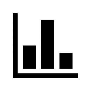 縦棒グラフの白黒シルエットイラスト