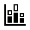 積み上げ縦棒グラフの白黒シルエットイラスト