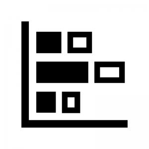 積み上げ横棒グラフの白黒シルエットイラスト