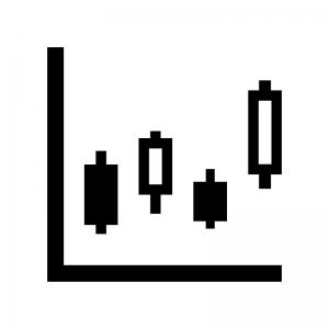 FX・株価チャートの白黒シルエットイラスト