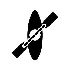 カヌーの白黒シルエットイラスト