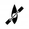 カヌーの白黒シルエットイラスト02