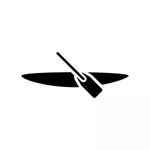 カヌーの白黒シルエットイラスト03