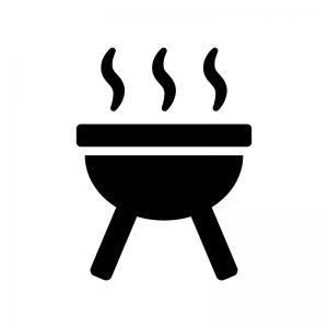 バーベキューコンロの白黒シルエットイラスト