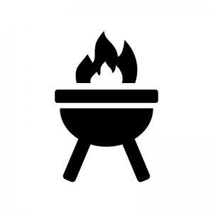 燃えているバーベキューコンロの白黒シルエットイラスト