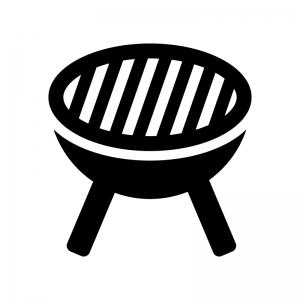バーベキューコンロの白黒シルエットイラスト02