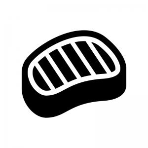 バーベキュー肉の白黒シルエットイラスト