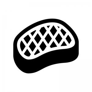 バーベキュー肉の白黒シルエットイラスト02