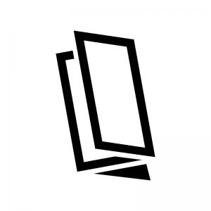 三つ折りパンフレットの白黒シルエット