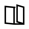 三つ折りパンフレットの白黒シルエットイラスト02