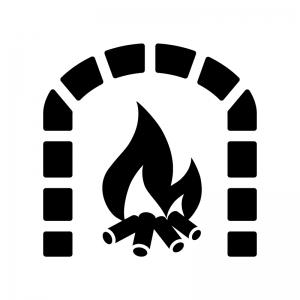 レンガの暖炉の白黒シルエットイラスト