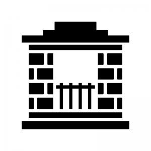 レンガの暖炉の白黒シルエットイラスト02